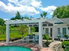 Trex Pergola Kit by Vinyl Arched Pergola With Sunshade Curved Trex Deck Pinterest