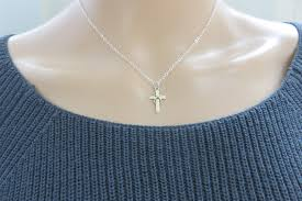 communion necklace communion gift silver infinity cross necklace marciahdesigns