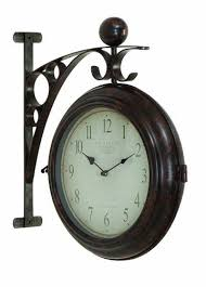 buy metal wall 2 side clock designed with antique look at