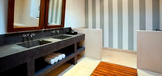 long narrow concrete bathroom countertop and two sinks of nice