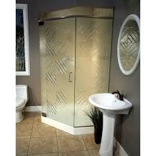 architecture corner shower stalls with frosted glass shower doors