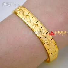 new arrival fashion 24k gp gold plated mens women jewelry wholesale classic gold bracelets for men 10mm width 24k real
