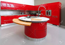 big modern kitchens interior shot of big modern red kitchen stock photo picture and