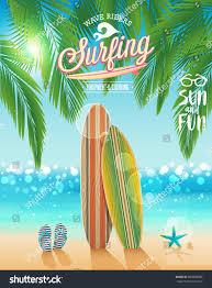 halloween beach background surfing poster tropical beach background vector stock vector