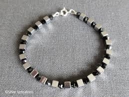 swarovski silver crystal bracelet images Silver hematite cubes bracelet with black swarovski crystals jpeg