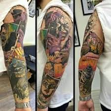 nipple tattoo peterborough stellar batman sleeve love the colors and the detailed panels won