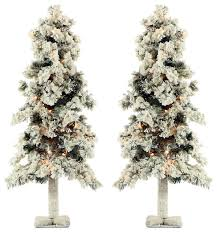 snowy alpine 3 artificial trees set of 2 traditional