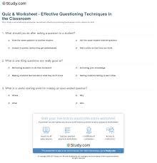 quiz u0026 worksheet effective questioning techniques in the