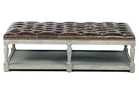 gray leather ottoman coffee table leather tufted ottoman marvelous with shelf large coffee table