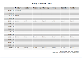 study and attendance schedule templates word document