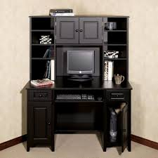 Black Desk With File Drawer Furniture Pine Wood Small Corner Computer Table With Hutch And