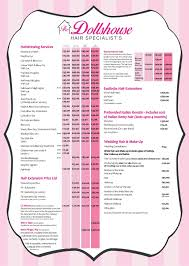 hairstyle price list price list the dollshouse