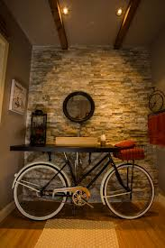 Powder Room Hand Towels Vintage Bicycle Bathroom With A Bike Tire As A Mirror Basket