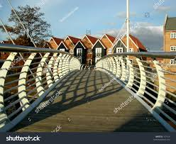 Curved Handrail Bridge Curved Handrail Casting Shadows Stock Photo 107414