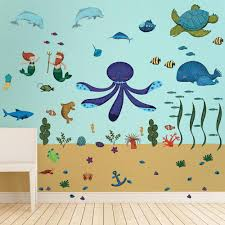 animal stencils stickers and coordinating home decor for children under the sea wall decal sticker kit jumbo set