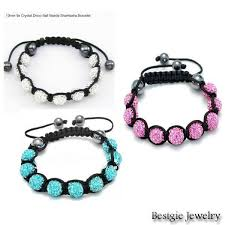 string bracelet with beads images 3 mixed colors 10mm fashion cz crystal beads shamballa bracelet jpg