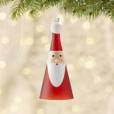 glass santa bell ornament crate and barrel