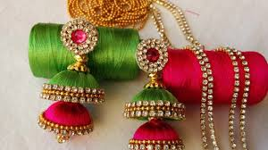 fancy jhumka earrings of butta silk thread jhumkas with pink kundans