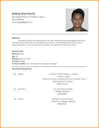 simple curriculum vitae for student sle resume format for high students study inside basic