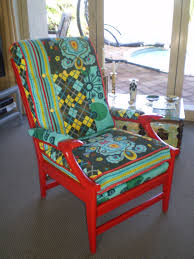 1960 s Cintique chair Patch work material and painted cherry red