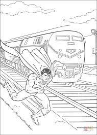 superman faster train coloring free printable