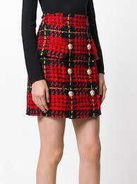 tweed skirt balmain tartan tweed skirt 1 746 buy aw17 online fast global