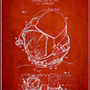 Diving Helmet Print Diver Poster - helmet for divers patent from 1976 red shower curtain for sale