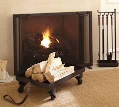 Single Fireplace Screen industrial fireplace single screen pottery barn