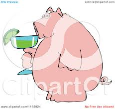 margarita clip art cartoon of a pink pig holding a margarita royalty free vector