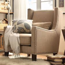 light brown accent chair homelegance living room wing back accent chair light brown linen