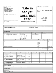 Call Sheet Template Call Sheet Template 2
