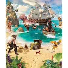 wall murals next day delivery wall murals from worldstores walltastic pirate and treasure adventure 8 panel wall mural