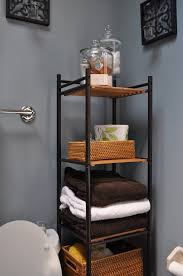 bathroom incredible corner black bathroom ladder shelves design