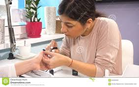 manicure artist making professional manicure stock footage video
