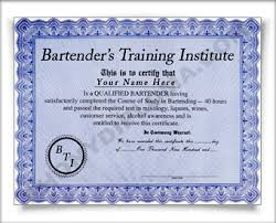 bartender training certificate novelty knowledge and achievement