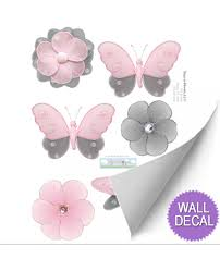 pink gray removable vinyl stickers grey nursery decals wall butterfly dragonfly flower wall decals for girls rooms