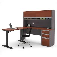 L Shaped Adjustable Height Desk Bestar Connexion L Desk With Hutch And Electric Height Adjustable
