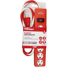 ge surge protector red light hyper tough 6 outlet 3 surge protector red walmart com