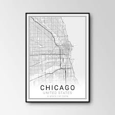 Chicago Map Poster by Chicago City Map Pixymaps