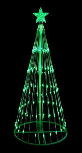 6 green led lighted show cone tree yard decoration