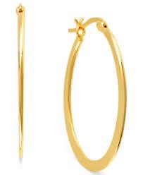 oval hoop earrings hint of gold 14k gold plated brass earrings 30mm oval hoop
