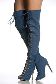 s boots with laces denim lace up open toe thigh high boots cicihot boots