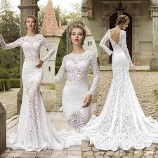 amazing long sleeve lace mermaid wedding dresses backless sheer