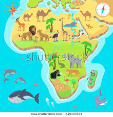 child predator map animals map africa beautiful colorful stock vector 351714773