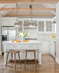 country kitchen decor with sleek modern pendant light fixtures and