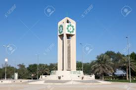 clock tower outside of the kuwait international airport december