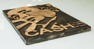 3d sculptured wall hanging wooden art johnny cash country wood