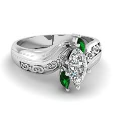 green wedding rings marquise three engagement ring with emerald in 14k white
