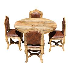 Round Dining Table And Chairs For 4 Dining Set For 4 Empire Mango Wood With Upholstered