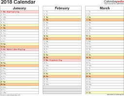 template 7 2018 calendar for excel months horizontally 4 pages